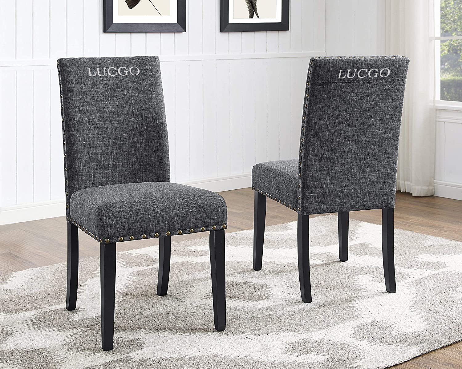 Lucgo Furniture Biony Gray Fabric Dining Chairs With Nailhead Trim Set Of 2