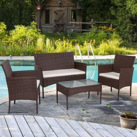 Lucgo 4 Piece Outdoor Patio Furniture, Outdoor Conversation Furniture
